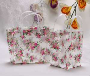 PVC Transparent Cosmetic Bag Floral Gift Bag pictures & photos
