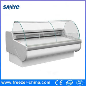 Curved Glass Self Serving Display Counter for Meat pictures & photos