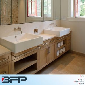 Double Sinks Woodgrain with Mirror Cabinets for Bathroom Cabinet pictures & photos