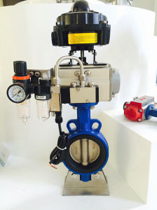 Pneumatic Butterfly Valve Complete with Limit Switch Box Solenoid Valve and Air Filter Regulator pictures & photos