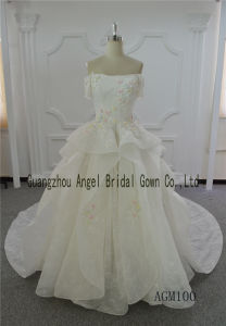 Ivory Wedding Dress Ball Gown Lace Long Train Dress Gown pictures & photos