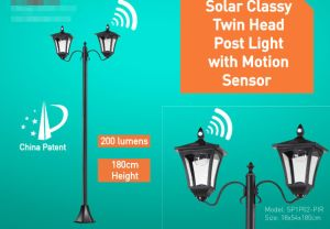 Solar Twin Head Post Light with Motion Sensor pictures & photos