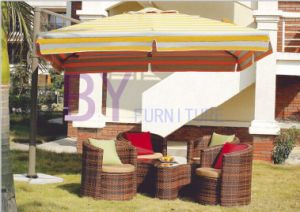 Brown Outdoor Garden PE Rattan Furniture with Flower-Shaped Table pictures & photos