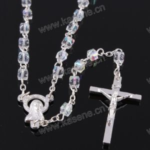 4mm Transparent Square Crystal Rosary Beads, Religious Rosary