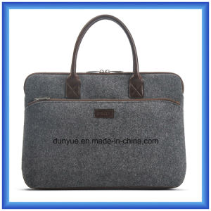 Simple Design Eco-Friendly Portable Wool Felt Laptop Handle Bag, Customized Soft Laptop Tote Hand Bag with Leather Comfortable Handle pictures & photos