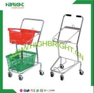 Convenient Store Double Basket Shopping Cart pictures & photos