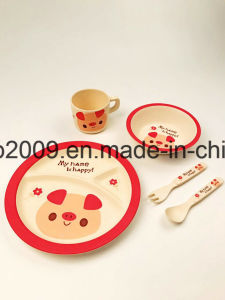 Eco-Friendly Bamboo Fiber Dinnerware with Bowl Plate Spoon Fork Bamboo Fiber Plastic pictures & photos