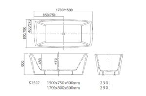 Freestanding Bathtub with Cupc Certficate K1502 pictures & photos