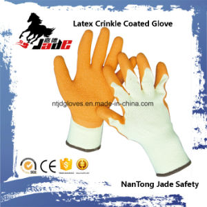 10g Cotton Palm Orange Latex Crinkle Coated Industrial Glove pictures & photos