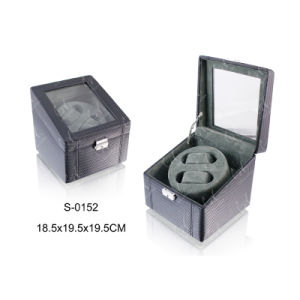 Leather Watch Case Wooden Packaging Box Automatic Watch Winder pictures & photos