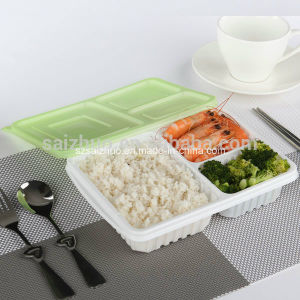 Wholesale Disposable Plastic Japanese Bento Box with 3 Compartment (SZ-04) pictures & photos