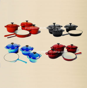 4PCS Enamel Cast Iron Cookware Set in Four Colors pictures & photos