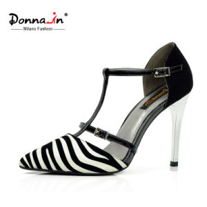 Lady High Heels Pumps Women Zebra Printing Leather Dress Shoes pictures & photos