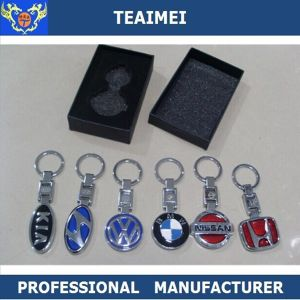 3D Chrome Car Logo Metal Keyring Promotional Gift Car Keychain