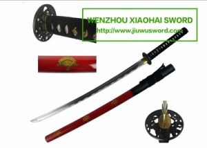 Red Handmade Katana Wakizashi Tanto Swords Fans on Scabbard HK097 pictures & photos