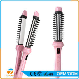New Design Professional Ceramic 2 in 1 Hair Styling Curler Brush and Hair Straightener Brush Comb pictures & photos
