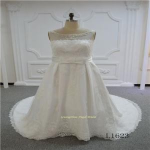 Satin A-Line Beading Decorates Wedding Dress pictures & photos