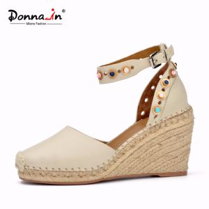 Lady Casual Jewels Leather Women Rope High Heels Wedge Sandals pictures & photos