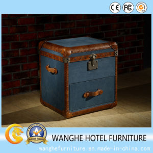 Leather Blue Executive Office Side Table with Storage pictures & photos