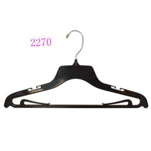 Brand Luxury Hotel Black No Slip Custom Plastic Laundry Hanger for Shop pictures & photos