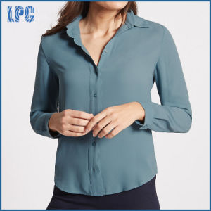 Chiffon Scallop Edge Long Sleeve Slim Fit Shirt pictures & photos