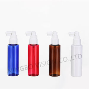 100ml Amber Blue Cylinder Round Pet Bottle with Nasal Sprayer pictures & photos