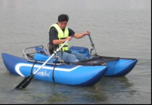 Black Single Kayak PVC Inflatable Fishing Boat with Electric Motor pictures & photos