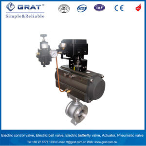 Single Action with Spring Return Pneumatic Ball Valve pictures & photos