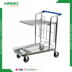 Nesting Platform Folding Warehouse Cargo Trolley Cart 2 Tiers pictures & photos