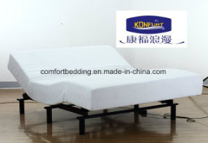 Home Furniture Massage Adjustable Bed with Memory Foam Mattress Bed and Real Leather Surrounding Headboard pictures & photos