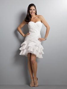 Fashion Taffeta Sweetheart Mini Length Cocktail Dress (075)