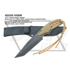 "10.4"" Overall Black Coated+Stone Washed Blade Dagger with Parachute Cord: 4do29-105sw pictures & photos"