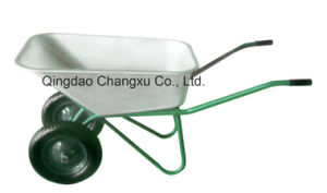 Double Wheels Galvanized Bucket Wheelbarrow
