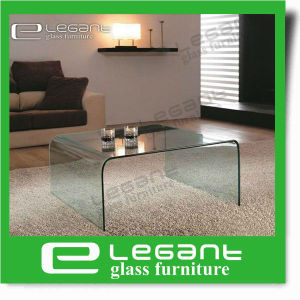 china round corner bent glass coffee table with beveled edge