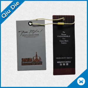 Fashionable Brand Name Tag Foil Flower Cardboard Paper Clothing Hang Tag with Logo pictures & photos
