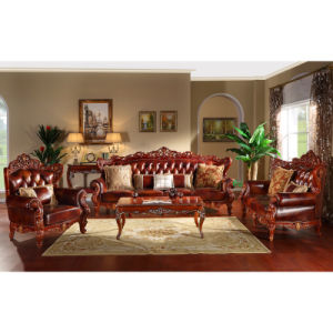 Wood Leather Sofa with Corner Table (YF83) pictures & photos