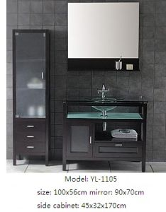 Solid Wood Bathroom Cabinet with Glass Basin pictures & photos