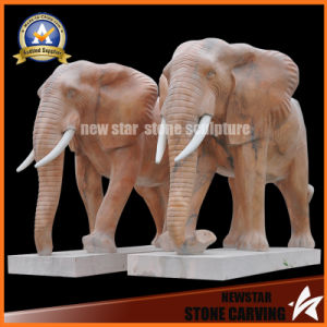 Stone Sculpture Animal Marble Elephant Sculpture for Decoration pictures & photos