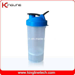 600ml Plastic Protein Shaker Bottle with 1 Container on Battom and Filter (KL-7004D) pictures & photos
