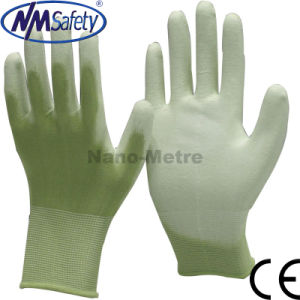 Nmsafety 13G Green Nylon Palm Coated White PU Glove pictures & photos