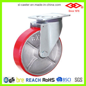 150mm Red PU Swivel Locking Castor Wheel (P160-46F150X50S) pictures & photos