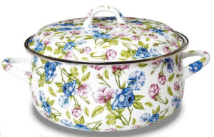 18cm High Grade Fashion Enamel Pot with Full Flower pictures & photos