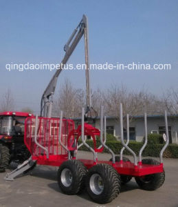 Manufacturer Tractor Log Loading Trailer with Crane pictures & photos