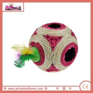 12 Cm Funny Seek and Hide Sisal Ball Cat Toy with Feather, Red pictures & photos