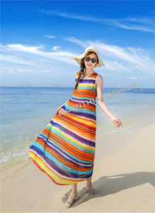 Fashion Printed Rainbow Stripes Long Dress/Beach Dress