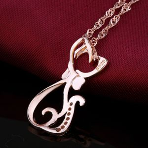Top Quality Real 925 Sterling Silver Pendant Necklace Personality Fashion Cute Small Cat Pendant Fine Jewelry Wholesale pictures & photos