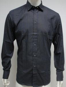 Man′s Stripe Woven Fashion Shirts HD0074