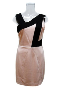 Lady Contrast Pink and Black Party Dress (EF D8924)