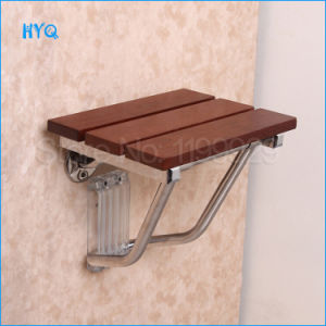 Le Mei Shi Series Small Size Wall Seat F-Type Wall Mounted Folding Chair Wooden Shower Seat at Bathroom pictures & photos