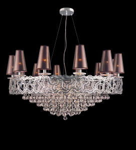 Luxury Hotel Project Pendant Lamp with Lampshade (WX8822B-18) pictures & photos